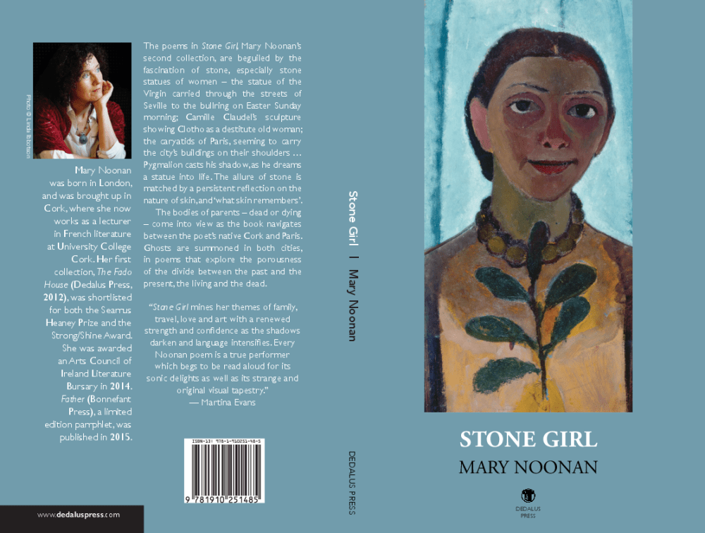 front and back cover of poetry book Stone Girl by Mary Noonan from Dedalus Press